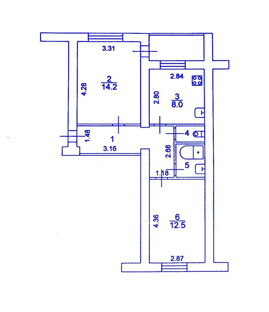 Продается 2-комнатная квартира, 50м²